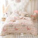 布団カバー セット Sサイズ3点セット Mサイズ4点セット シングル ダブル布団 シーツ ピンク ホワイト フラミンゴ bedding-0571 新生活