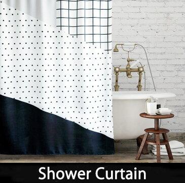 シャワーカーテン バスカーテン【送料無料】モノトーン 2サイズ ホワイト ブラック バス用品 防カビ bath-sc0049