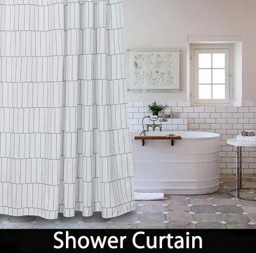 シャワーカーテン【送料無料】バスカーテン バス用品 ホワイト グレー シンプル 防カビ bath-sc0023