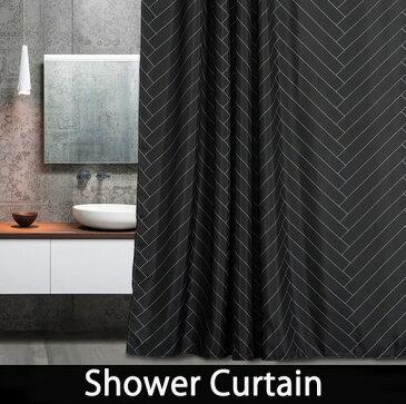 シャワーカーテン バスカーテン 【送料無料】モノトーン ブラック/黒 バス用品 防カビ 2サイズ bath-sc0032