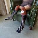 送料無料 子供用 ハイソックス キッズソックス ジュニアソックス 女の子 靴下 アニマルフェイス 動物 くま ねこ 無地 ボーダー ドット 肌着 下着 キッズ ジュニア