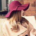 送料無料 ツバ広帽 フェルト帽 ツバ広ハット 女優帽 リボン付き シンプル 無地 レディース カジュアルスタイル 帽子 ぼうし カラバリ豊富