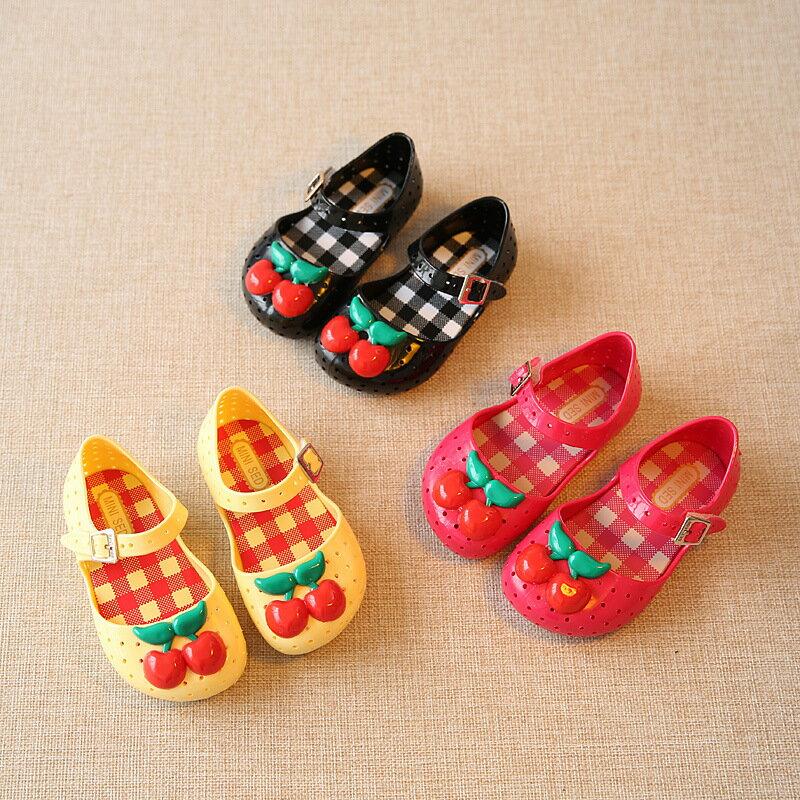 ラバーシューズラバーサンダル靴くつ子供用キッズKIDS女の子女児さくらんぼサクランボチェリーストラッ