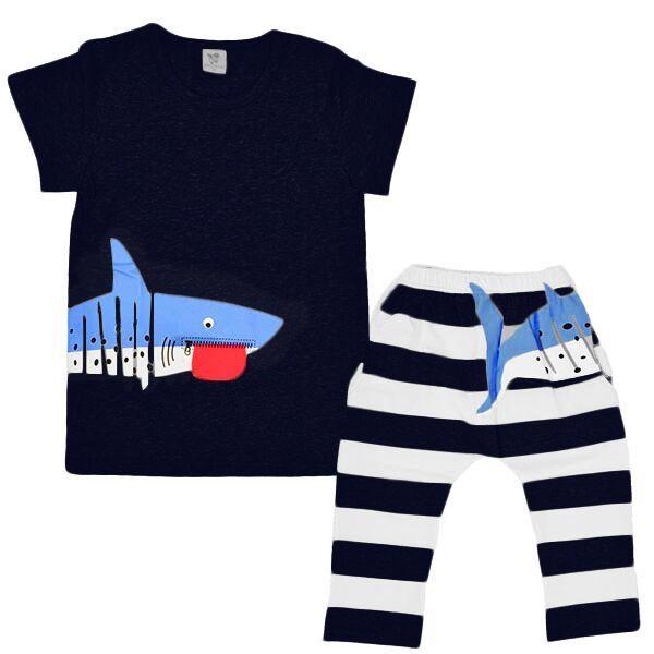 送料無料子供用セットアップ2点セットTシャツ×パンツストライプ×イラストプリント七分丈パンツ半袖ポケ