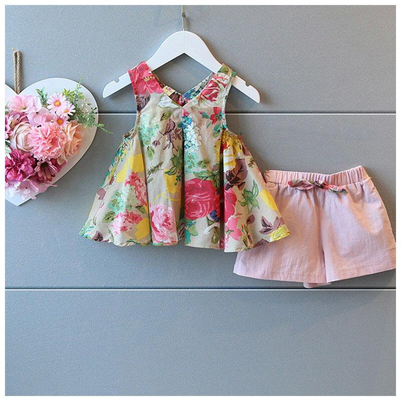 セットアップAラインチュニックショートパンツショーパン子供服ノースリーブトップスボトムス夏女の子女児