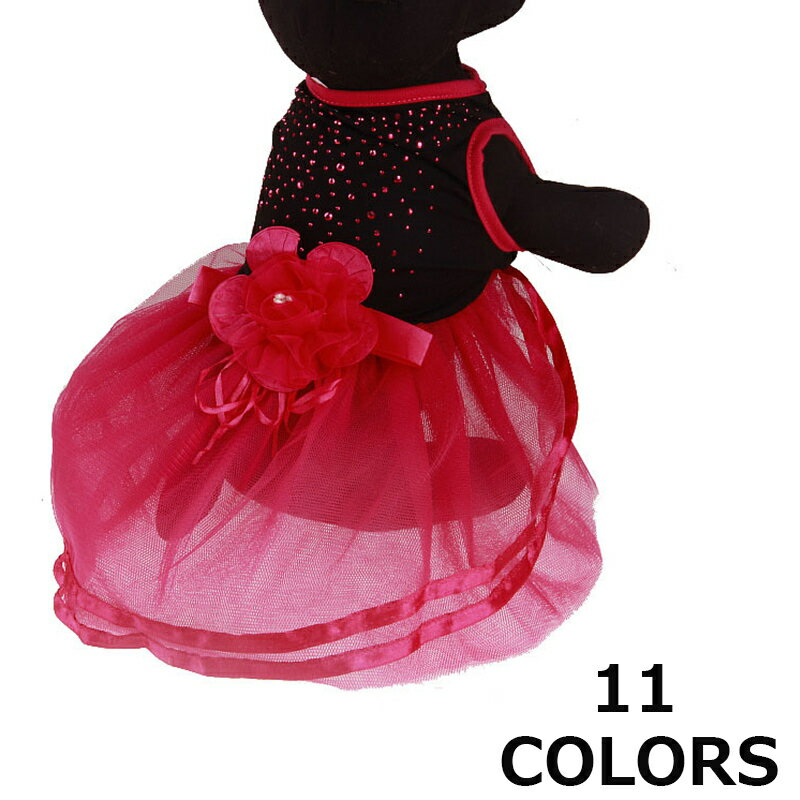 ペット用服犬愛犬女の子ペットペット用品ドックウェアドレスワンピースリボンお花スカートコスプレ衣装カラ