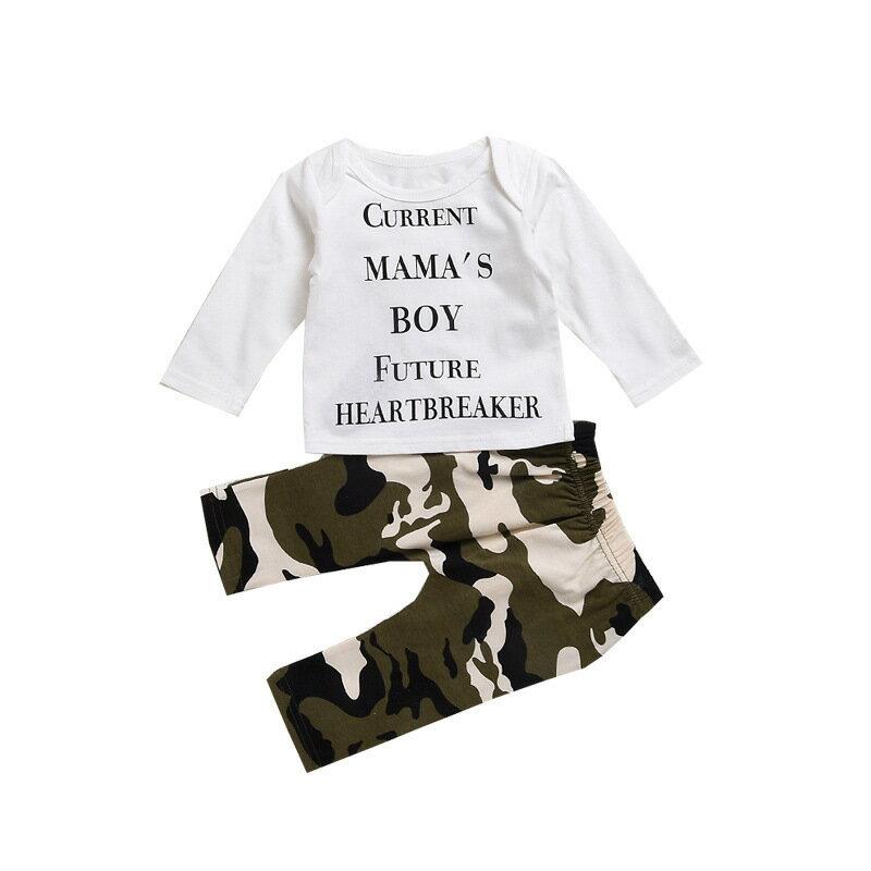 上下セット長袖Tシャツ長ズボン10分丈ベビー服トップスボトムスカットソーラウンドネックロングパンツウ
