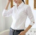 送料無料 ブラウス シャツ 長袖 レディース トップス スリム タイト ホワイト 白 オフィス ワイシャツ 無地 Yシャツ カッターシャツ 女性用 婦人用 S M L XL 2XL 3XL 4XL 5XL