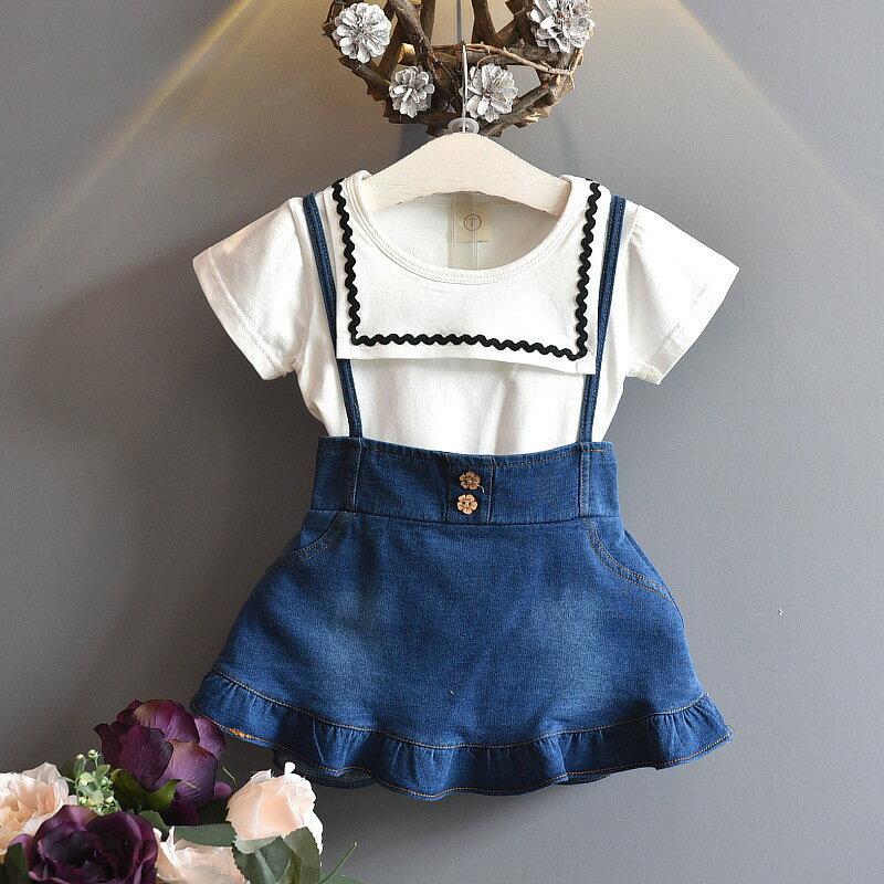 上下セットセットアップツーピース子供服こども服キッズガールズ女の子トップスTシャツ半袖スカートデニム