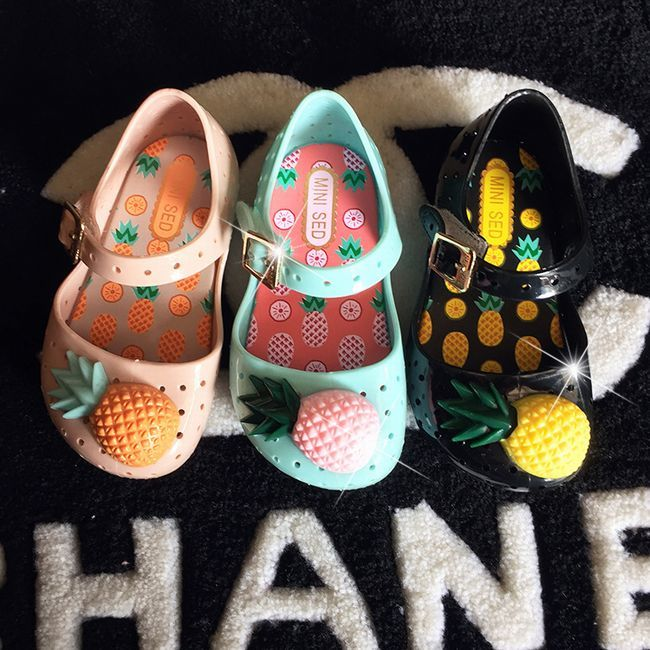 送料無料子ども用ラバーシューズキッズ用女の子靴シューズラバー甲ストラップ女の子女児子供パイナップルフ