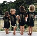 ワンピース 膝丈ワンピース Aラインワンピース Tシャツ シャツ 半袖 キッズ 子供服 天使の羽 刺繍 丸首 ラウンドネック 黒 ブラック 親子お揃い 親子ペア 男の子 女の子
