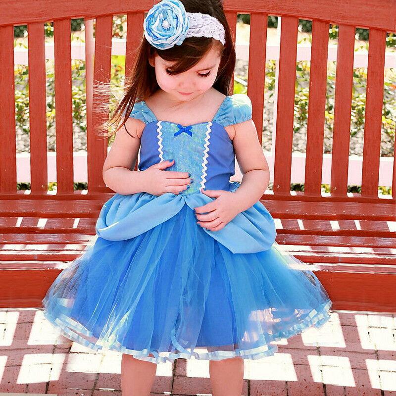 ワンピースお姫様プリンセスハロウィンコスプレなりきりキッズ女の子半袖膝丈ミディアムドレスリボン背中開