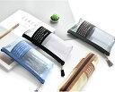 ペンケース 筆箱 ふでばこ 筆記具入れ ペンポーチ マチあり 三角形 四角形 大容量 半透明 帆布 キャンバス タッセル 編み目 ファスナー ジッパー シンプル おしゃれ 文具入れ 小物収納