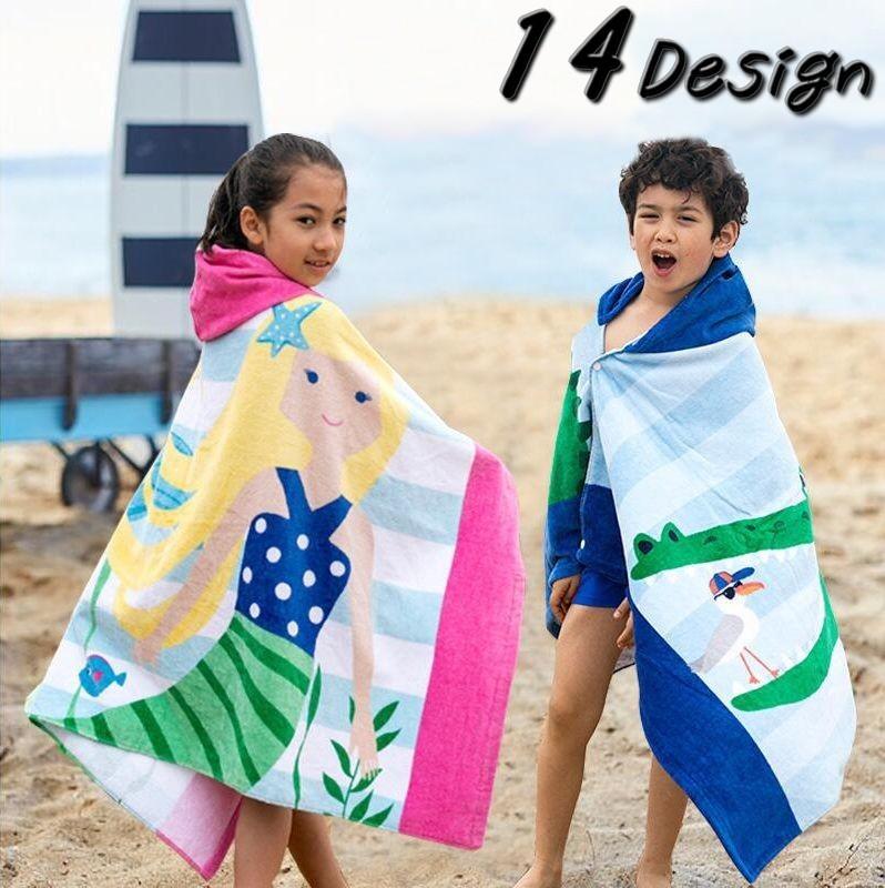 子供用フード付きラップタオルスイムタオルプールタオルバスタオルビーチタオル127cm×76cmプール