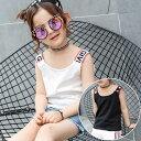 送料無料タンクトップ キッズ ノースリーブ 女の子 ロゴ カジュアル おしゃれ 切り替え トップス かわいい 子供服 90 100 110 120