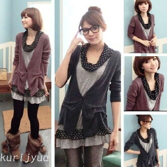☆Lovely mature knit tunic with the LL~5L ☆ latest wearing clothes one over another-like dot frill☆