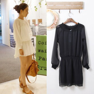 Browsing chiffon one piece, long sleeves, see-through, white, black, flare mini
