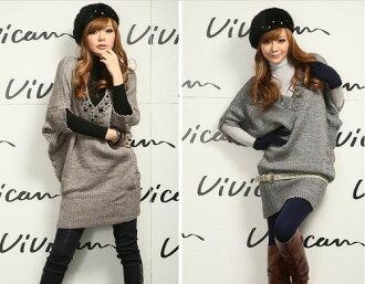 Bijou with V neck short sleeve ニットチュニックワンピース-sweaters