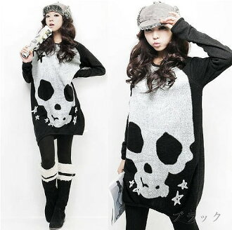 And skull print long sleeve dress / tunic ★ black / orange
