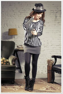 Stripe reshuffling ◆ dolman sleeve one piece tunic