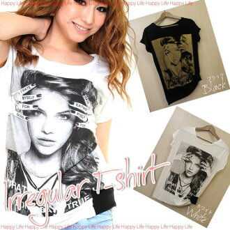Irregular design photo BIG print t-shirt