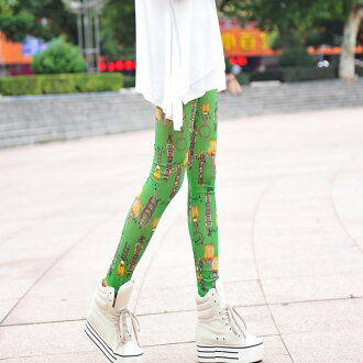 Elegant print color spats / leggings / bottoms / tights stretch wacky prints pattern shorts