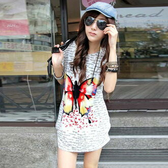 Butterfly print dress length short sleeves tops / cut-and-sew ゆる silhouette
