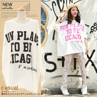 Loose fit! English-language big logo print T shirt dress ◆ shirt/tunic