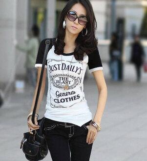 English-language BIG print Raglan short sleeve T shirt / monotone / simple / selenge ◎ order today will ship 6/10