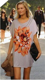 [JN] transcription style VIC flower print short sleeve Dolman T shirt
