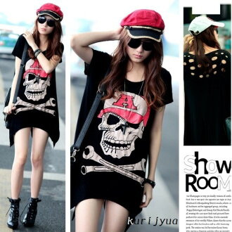 Black skull short sleeve T シャツチュニック ☆ back sexy