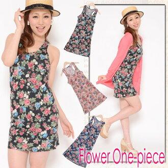 Floral design tank tunic dress