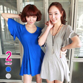 Clearance sale! I am going to ship it on order about July 28 wide flare sleeve peplum Mini One peace ◎ today