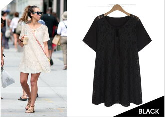 [JN] floral lace toggle short sleeve tunic dress