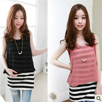 I am going to ship it on sleeveless horizontal stripe one piece tunic ◎ today order about January 16 with chiffon
