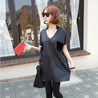 Simple / bi-coloured short-sleeved tunic dress