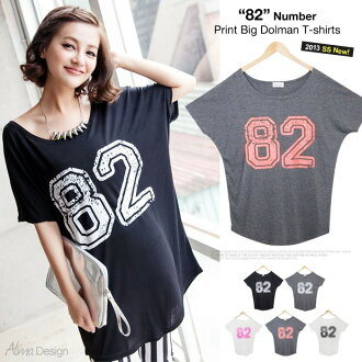 82 number prints! ゆるてろ material big dolman T-shirt one piece / tunic / tops