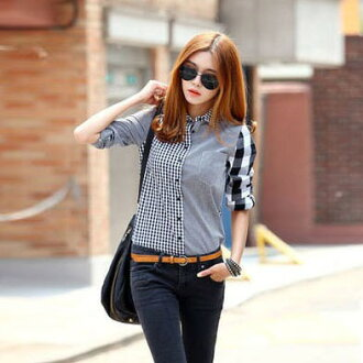 Irregularity check reshuffling asymmetric patchwork shirt tops 10P02Mar14