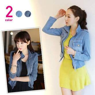 I am going to ship it on order about April 18 peplum design stand collar denim jacket ◎ today
