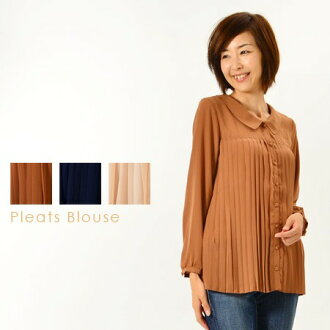 Pleated long sleeve blouse / tops / retro, sheer available. • order today 2/23 shipment plan