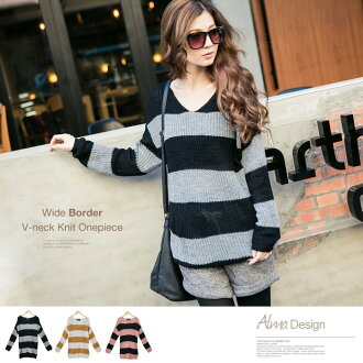 I am going to ship a wide border X roughly on order about March 28 knit, V neck knit one piece / tunic ◎ today