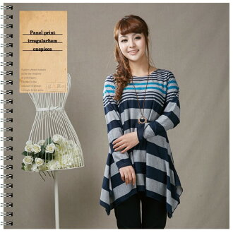 Horizontal stripe ★ long sleeves tunic one piece irregular hem