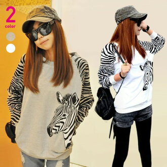 I am going to ship it on order about September 10 zebra pattern, ゆる silhouette sweat shirt tops ◎ today