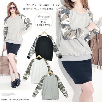 Camouflage pattern switching ★ raglan sleeves swettrainertops ★ back hair ★ camouflage