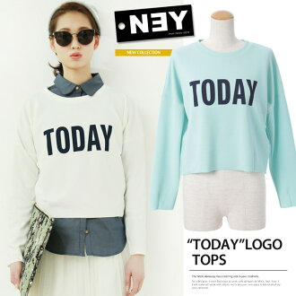 And BIG logos ★ short-length long-sleeved trainer print pullover tops ★ [TODAY]