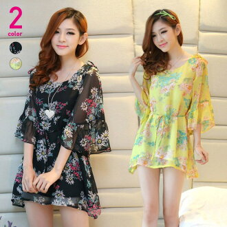 Flare sleeves and floral chiffontunicwan piece