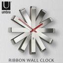 北米 アンブラ社のアートなデザインクロック結婚 引越し 新築 開店 新生活 記念日 誕生日 恋人 友人 女性 男性 家族へのギフト・プレゼントにもドウゾ!umbra リボンクロック (時計)