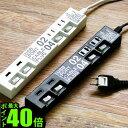 電源タップ usb おしゃれ スイッチ 3m 4個 【あす楽16時まで】ポイント10倍 特典付き!ケーブルプラグ 4個口 & USBポート 2個口 CABE PLUG 04 & USB PORT 02