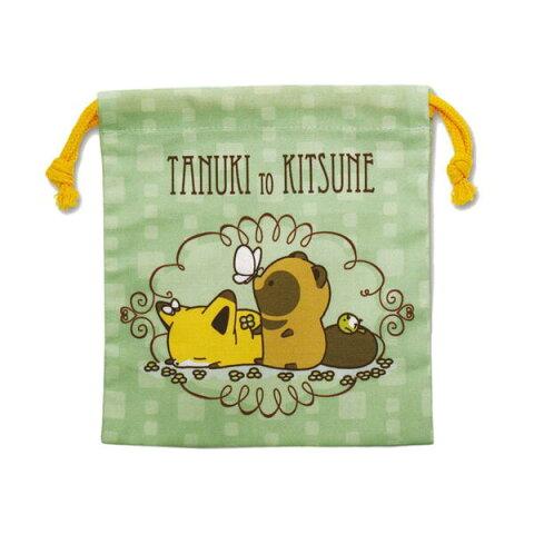 タヌキとキツネ 巾着(蝶々とタヌキ) TK-KI002 Tanuki to Kitsune