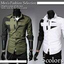 メンズ 長袖シャツ カジュアルシャツ スリムフィット 全5色 メンズファッション トップス 彼氏 男性